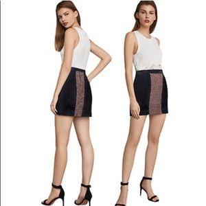 NWT BCBGMAXAZRIA Tweed Faux Leather Mini Skirt
